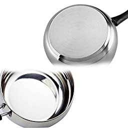 YOULANDA Stainless Steel Saucepan with Glass Lid Cover Milk Pot Cookware 1.5 Quart, Silver Tone