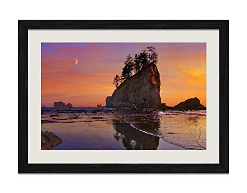 (YENOYE-SM Beach sea Coast Sunset Olympic National Park- Picture Art Print Black Wooden Frame Framed Posters Home Deco 16x12in )