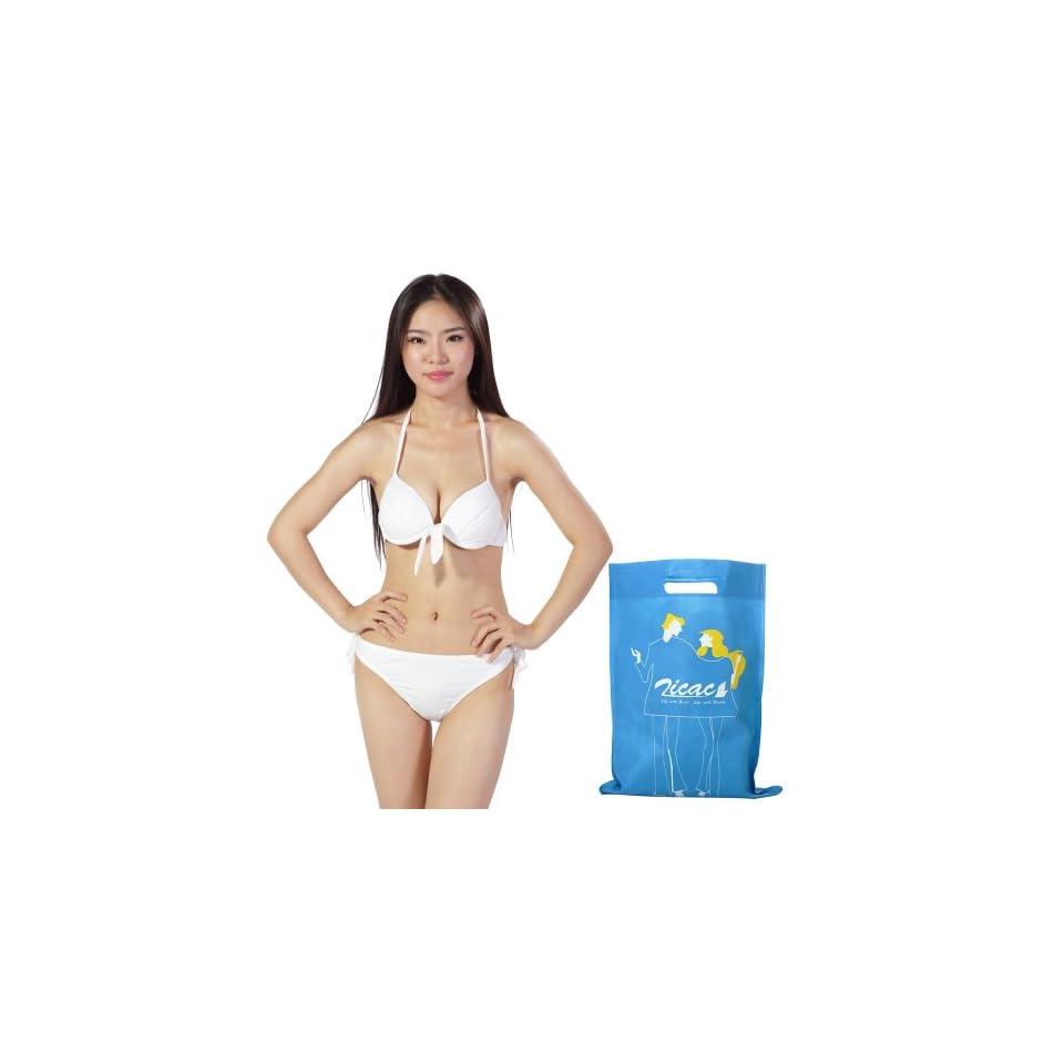 Zicac Sexy Ladies Women Push Up Padded Bikini Trikini Swimwear Swimsuit 2 PCS S M L 4 Colors (White, S) Clothing