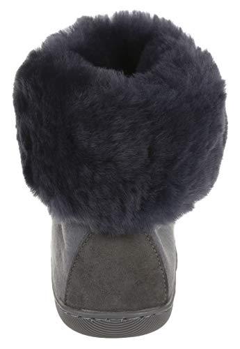 en Vg Gris Cheville Peau Hauteur Bottes Vogar Doublées de mouton Gris Fourrure Laine Femme 11m Pantoufles H8Cwqg7