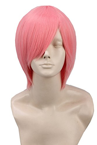 Unisex Adult Short Straight Fiber Cosplay Wig Halloween Costume Hair (Pink) (Adult Short Pink Wig)
