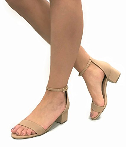Sandals Ankle Women's Open Toe Classified Strap Natural Heeled Block City wFqv4pT