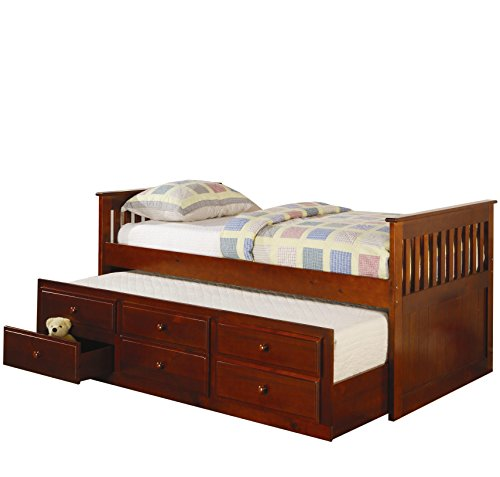 Daybed Cherry Trundle (Coaster CO-300105 Twin Daybed with Trundle, Cherry)