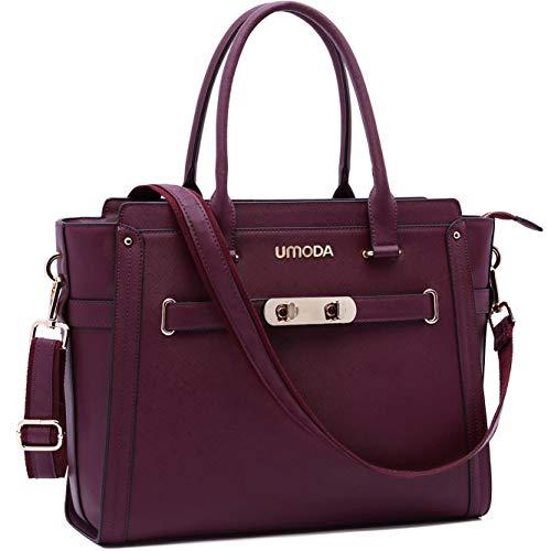 (Laptop Bag for Women,15.6 Inch Multi Pocket Padded Laptop Tote Bag,Padlock Design Computer Bags for Women,Burgundy )