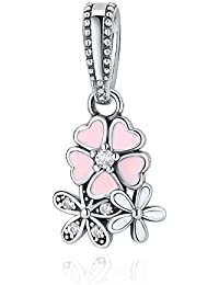925 Sterling Silver Pink Flower Charms Pendant Necklace Silver Dangle Earrings Womens Jewelry Set