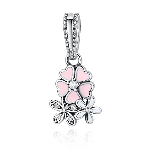 WOSTU 925 Sterling Silver Pink Flower Dangle Charm fit Charm Bracelets Silver Charm Pendant Necklace (Necklace Dangle Sterling Silver)