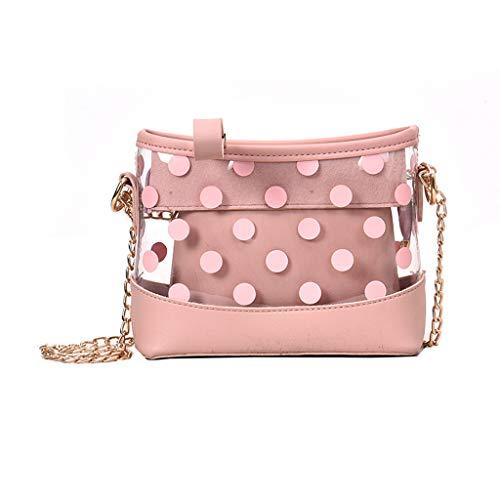 Pengy Women's Transparent Bag Dot Package Super Chain Messenger Bag Candy Plastic Handbag for Student Girl Chidren