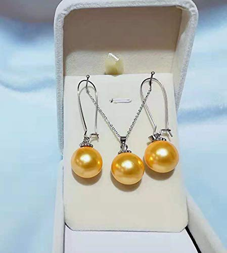 13 mm 0.5 in Natural Round Mother of Pearl Pendant Silver Necklace and Teardrop Hoop Earrings Gift Sets 3 Pieces for Girls Women (Gold)