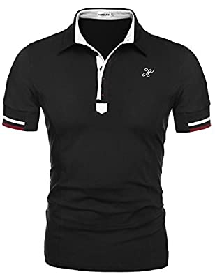 HOTOUCH Mens Casual Short Sleeve Button Up Slim Fit Sport Polo Shirts