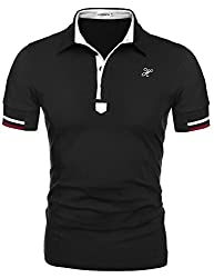 HOTOUCH Men's Stylish Casual Slim Fit Button Polo Shirt Green S