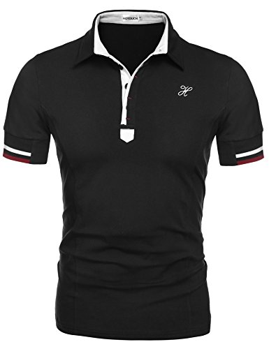 Hotouch Mens Lightweight Polo T Shirt Trendy Jersey Shirts Black L