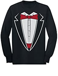 TeeStars - Tuxedo With Red Bow Tie Funny Toddler/Kids Long sleeve T-Shirt