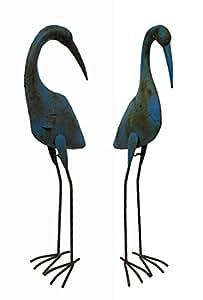 Metal Standing Crane Sculptural Bird Statue Set of 2