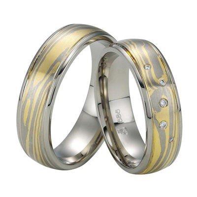 Confíes anillos/anillos de boda/oro/oro blanco/amarillo/Mokume gane/par precio: Amazon.es: Joyería