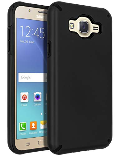 Galaxy J7 (2015) Case,Galaxy J7 Case,SENON Slim-fit Shockproof Anti-Scratch Anti-Fingerprint Protective Case Cover for Samsung Galaxy J7 Neo J700,Black