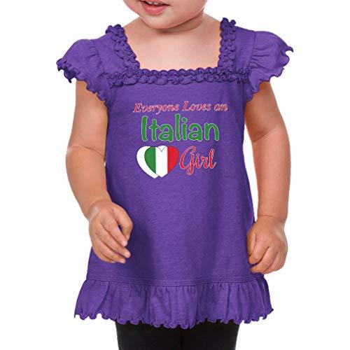 Everyone Loves an Italian Girl Cotton/Polyester Short Sleeve Ruffle Scoop Neck Girl Toddler Sunflower Top Tee - Purple, 6 Months