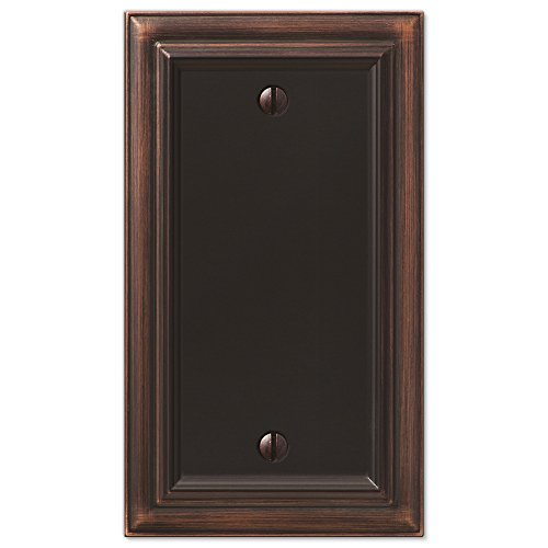Amerelle Continental Single Blank Cast Metal Wallplate in Aged Bronze