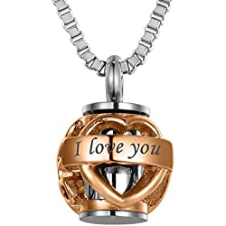 VALYRIA Pet Memorial Pet Paw Beads 'Always in my heart' Cremation Urn Necklace with Engraving,Rose Gold Plated