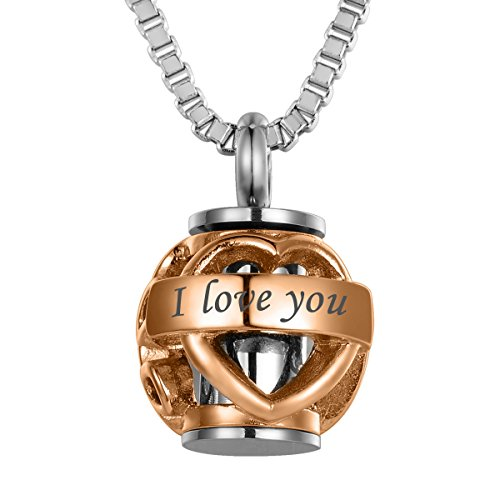 (Valyria Pet Memorial Pet Paw Beads 'Always in My Heart' Cremation Urn Necklace with Engraving,Rose Gold Plated)