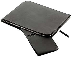 germanmade - Funda de piel con cremallera para iPad negro