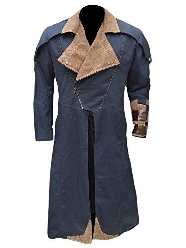 Cosplay Costume Denim Cloak Assassin Creed Arno Dorian Dan Jeannotte Coat with Detachable Hood (2XL - Jacket Chest 52