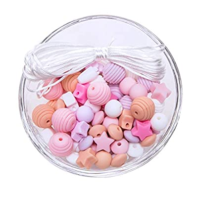 Baby Silicone Beads for Teething 100pcs Loose Bead for Sensory Teethers Pink Series Nursing Necklaces Bracelets Fashionable Jewelry : Baby