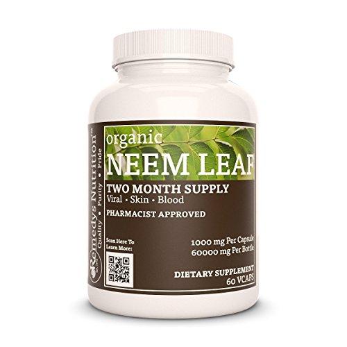 Neem Leaf (Azadiratchta Indica) Remedys Nutrition Organic MEGA STRENGTH 1000 mg per capsule/ 60.000 mg per bottle organic vegan Vcap Review