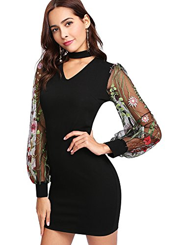 Shift Embroidered Dress Black (Verdusa Women's Choker Neck Floral Embroidered Mesh Sleeve Shift Dress Black S)