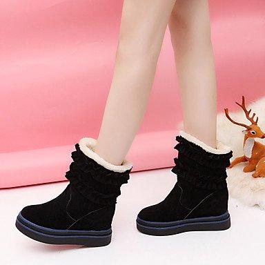 Heart&M Mujer Zapatos Tejido Otoño Invierno Confort Botas Tacón Plano Mitad de Gemelo Para Casual Negro Marrón black