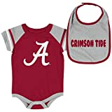 Colosseum NCAA Baby Short Sleeve Bodysuit and Bib 2-Pack-Newborn and Infant Sizes-Alabama Crimson Tide-0-3 Months