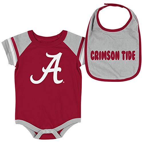 Alabama Infant Clothes - Colosseum NCAA Baby Short Sleeve Bodysuit and Bib 2-Pack-Newborn and Infant Sizes-Alabama Crimson Tide-3-6 Months