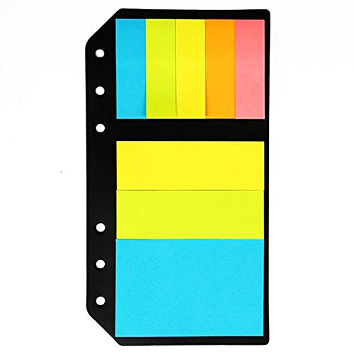 Universal 6 Hole Index Divider Sticky Notes Paper Memo Sticker Colorful Flags for A5/A6/B5 Notebook,Insert Refill Filler Page,2 Pack