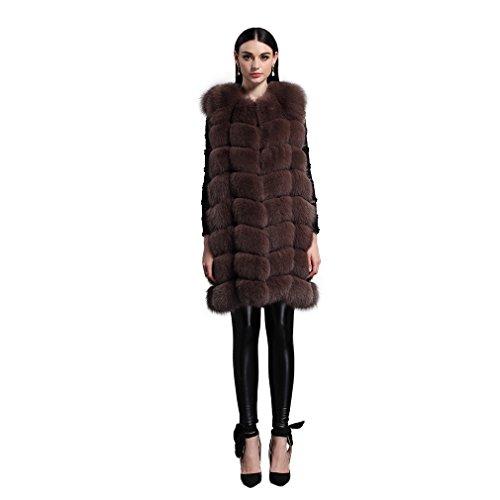 Women's Long Fur Vest with Real Fox Fur Thick Warm Vest S...