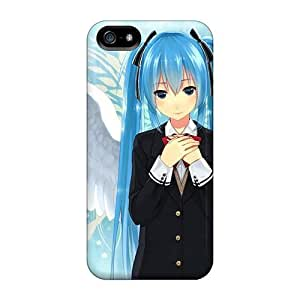 Bumper Cell-phone Hard Covers For Iphone 5/5s With Allow Personal Design Fashion Wings Vocaloid Hatsune Miku Blue Eyes Blue Hair Skin JasonPelletier