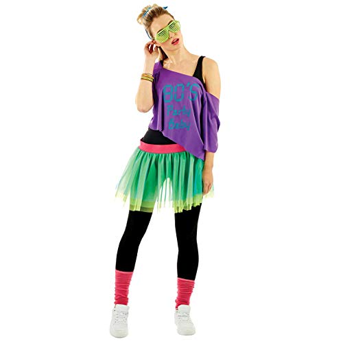 Womens 80s Purple & Green Neon Costume Adults Decades Party Tutu Outfit - One ()