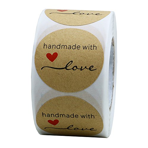 """Hybsk 1.5"""" Inch Round Natural Kraft Handmade with Love Stickers Total 500 Adhesive Labels Per Roll from Hybsk"""