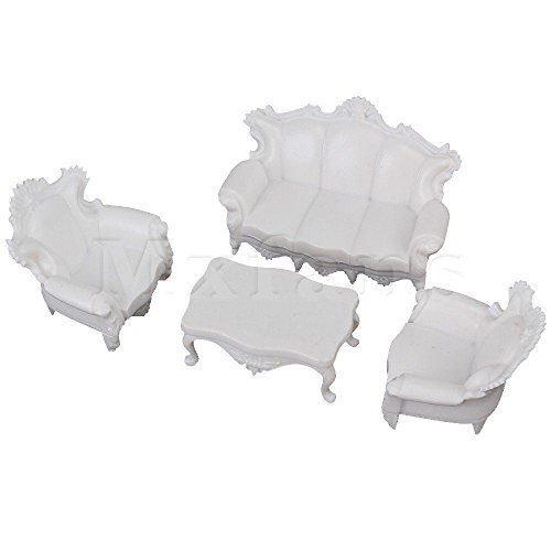 Shallen 4pcs Antique Sofa Settee Couch Model Set Dollhouse Architecture Furniture 1:25 (Bed Settees For Sale)
