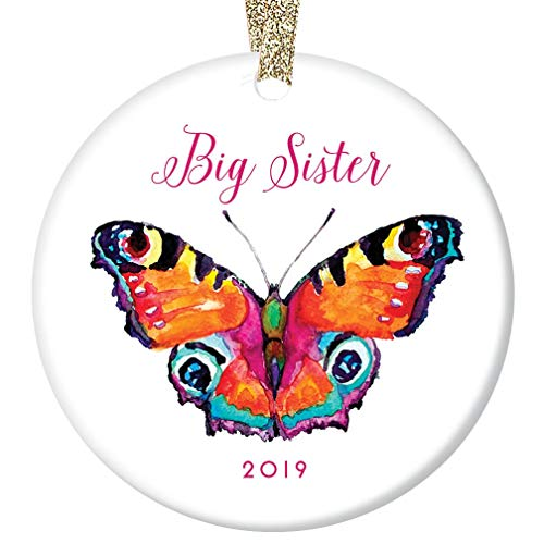 Big Sister Christmas Ornament 2019 Pretty Rainbow Butterfly Ceramic Keepsake Present to Older Female Family Sibling from New Baby Sister Brother 3