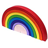 Bright Rainbow Canadian Made Wooden Stacking Toy