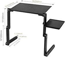 Ergonomics 360 Degree Adjustable Legs RAINBEAN Laptop Table for Bed Home Office Notebook PC Lap Desk Stand with Mouse Pad,Book Stand and Breakfast Serving Bed Tray Vented Cooler Function