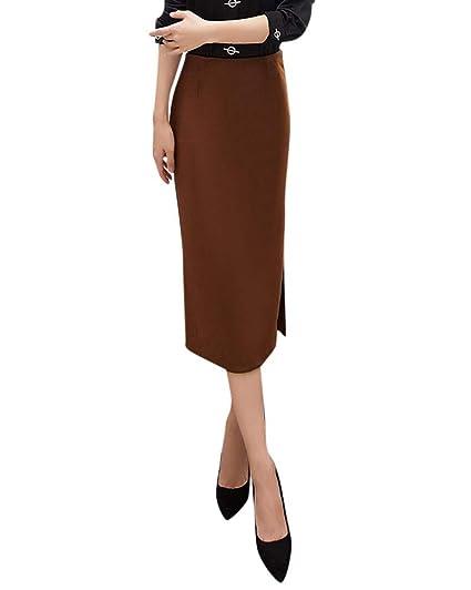 Mujer Color Sólido Tejido Elástico Slim Cintura Alta Falda De Tubo ...