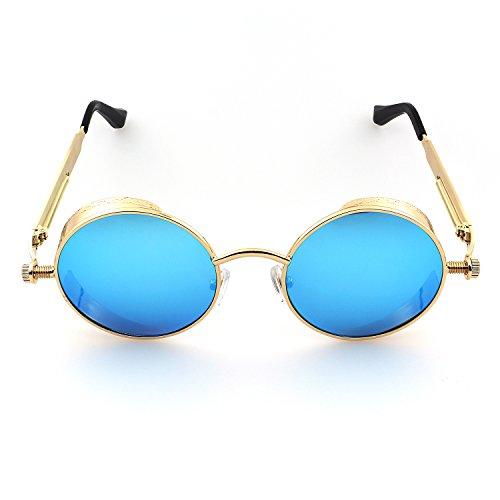 Ronsou Estilo Lente Marco Polarizadas Retro Redondas Sol Vintage Gafas UV400 Protección Gafas de Dorado Azul Metal Steampunk Marco rrHwqA1f