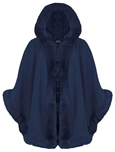 Cape Wrap Hooded Women Faux Celebrity Coat Puncho Mantle Ladies Baleza Italian Navy Fur Acx6fSHnW