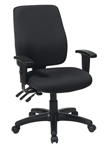 Office Star High Back Dual Function Ergonomic Chair with Ratchet Back Height Adjustment with 2-way Adjustable Arms, Black (Adjustment Fabric Height Back)