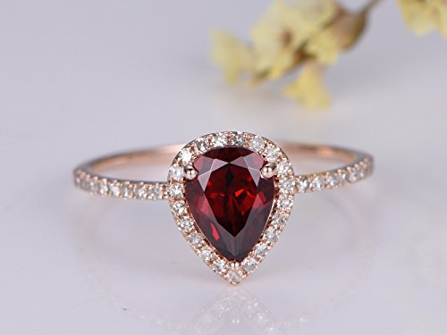 6x8mm Pear Cut Natural Red Garnet Engagement ring,14K Rose Gold Halo Diamond Wedding Band, Bridal Ring, Stack Matching Band