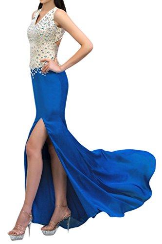 sunvary vaina brillantes cuello Rejillas de Slide largo vestidos de fiesta Prom Fiesta Azul