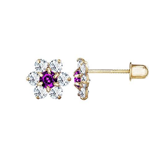 Solid 14kt Earrings (14kt Solid Gold Kids Flower Stud Screwback Earrings - Purple)