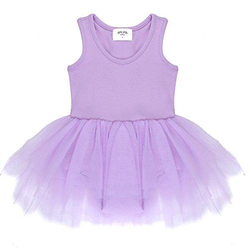 STELLE Toddler/Girl's Organic Cotton Tank Top Tutu Dress Leotard For Dance, Gymnastics and Ballet(Purple, 110cm) (Purple Leotard And Tutu)