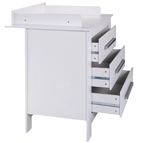 Costzon White Changing Table Dresser Baby Room Nursery Furniture Diaper Station 3 Drawer by Costzon (Image #3)