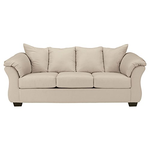 Ashley Furniture Signature Design - Darcy Contemporary Microfiber Sofa - Stone (Living Finish Leather Room Sofa)